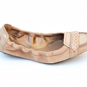 Tod's Shoes - TOD'S Italian Beige Suede  Leather Ballet Loafers
